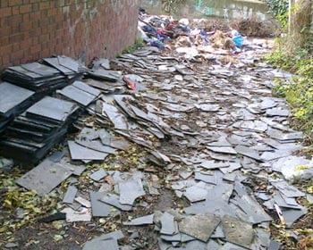 Asbestos roof slate